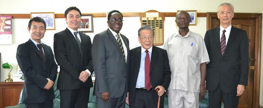 L-R: Yukichi Okazaki-Board Member Ashinaga, Mr. Tamai's translator, VC-Prof. John Ddumba-Ssentamu, Mr. Yoshiomi Tamai-Ashinaga Founder & President, Prof. Peter K. Baguma-Dean, School of Psychology, CHUSS and Mr. Yoshiie Sakurai-Ashinaga ED at the courtesy call, 12th December 2014, Makerere University, Kampala Uganda
