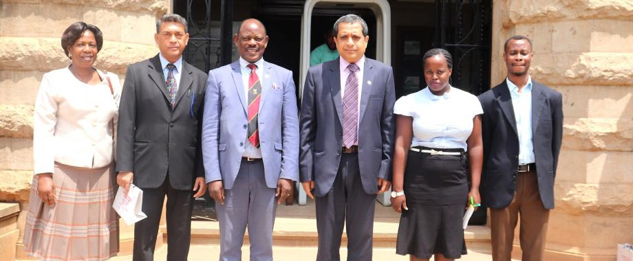 The Vice Chancellor, Prof. Barnabas Nawangwe (3rd Left) and the High Commissioner of India to Uganda, Mr. Shri Ravi Shankar (3rd Right) flanked by officials from their respective institutions pose for a group photo after Mr. Shankar's visit to Makerere University, Kampala Uganda on Monday 15th July 2019.
