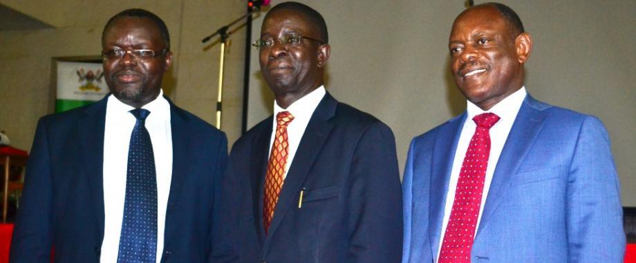 Candidates vying for the post of Vice Chancellor (L-R) Prof. Venansius Baryamureeba, Prof. Edward Kirumira and Prof. Barnabas Nawangwe following their public presentations, 15th June 2017, Main Hall, Makerere University, Kampala Uganda