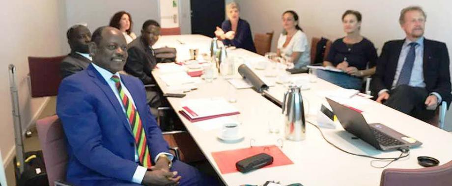 The Vice Chancellor-Prof. Barnabas Nawangwe (Front L) flanked by Principal CHS-Prof. Charles Ibingira (2nd L) and Director DRGT-Prof. Buyinza Mukadasi during the presentation to the Karolinska Institute (KI), Sweden team led by Prof. Ole Petter Ottersen on 8th June 2018. The two institutions agreed to jointly fundraise for the establishment of a Centre of Excellence in Non-communicable Diseases (NCDs).