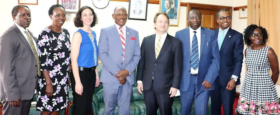 The Vice Chancellor-Prof. Barnabas Nawangwe (4th L) and Yale University's VP for Global Strategy-Prof. Pericles Lewis (4th R) with DVCFA-Prof. William Bazeyo (L), Principal CHS-Prof. Charles Ibingira (3rd R), Director MUYU Program-Prof. Harriet Mayanja-Kizza (2nd L) and staff from CHS and Yale at the meeting on 13th March 2019, Makerere University, Kampala Uganda