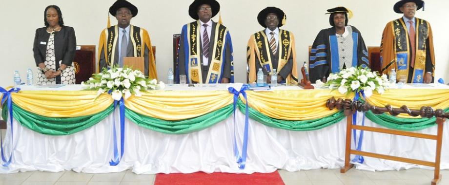 L-R MUST: DVC-Prof. Pamela Mbabazi, Out-going VC-Prof. Prof. F.I.B Kayanja, Chancellor-Prof. Peter N. Mugyenyi, In-coming VC-Prof. Celestino Obua, Minister of Education and Sports-Hon. Maj (Rtd). Jessica Alupo and Chairperson of Council-Dr. Ben Mbonye at the VC Inauguration on 24th October 2014. Image courtesy MUST