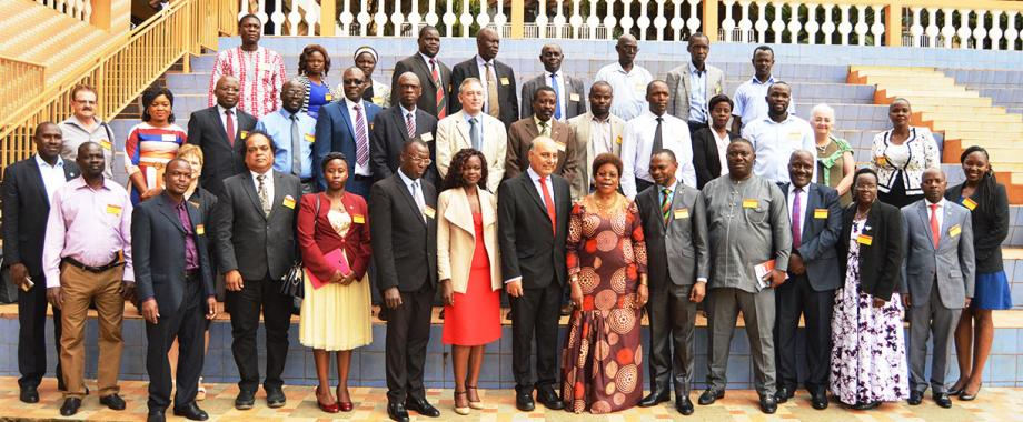 Minister of Kampala City  Council Authority Hon. Beti Kamya(7th from Left) franked by Makerere University Deputy Vice Chancellor (Academic Affairs) Dr Umar Kakumba(6th left) on her left is Prof. Devendra Kodwani, Member of Vice-Chancellor's Executive at Open University,UK at the opening Ceremony on 13th December 2019.