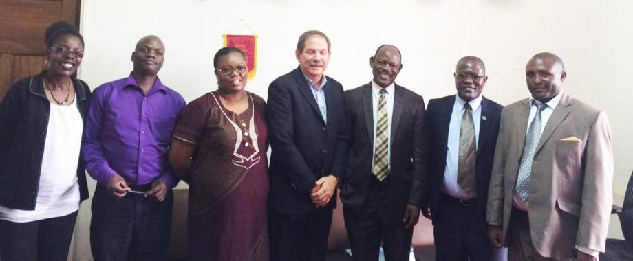 Provost of Earth University, Prof. Daniel Sherrard(Centre) on his left, Prof. Barnabas Nawangwe together with officials from Regional Universities Forum for Capacity Building in Agriculture (RUFORUM)