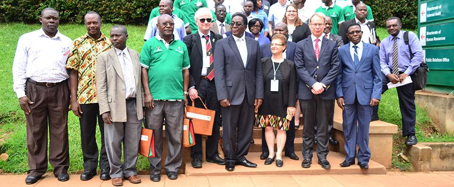 The Vice Chancellor Prof John Ddumba-Ssentamu(5th Right) together with Swedish Ambassador to Uganda, H.E Per Lindgarde(3rd Right) pose for a group photo with other dignitories and researchers from Sweden-Makerere Collaboration.