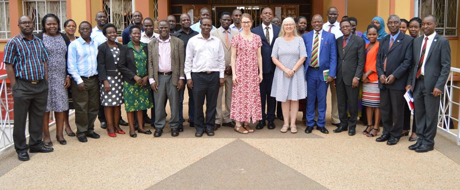 Mak VC Prof. Barnabas Nawangwe (5th Left), Dr Katarina Endreason (8th Left) and Prof. Anna Bjuremark(6th Left) from Sweden join participants drawn from partnering public universities: Busitema, Gulu, Kyambogo and Mbarara University of Science and Technology in a group photo after closing the training on 21st March 2018. The training is supported by Sida.