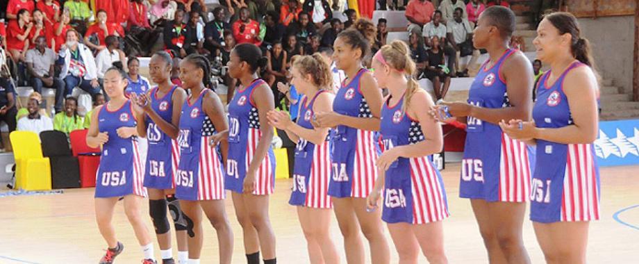 Team USA lines up for action on Day3 of the 3rd FISU World University Netball Championship, 19th September 2018, Indoor Sports Facility, Makerere University, Kampala Uganda. Image:WUNC2018