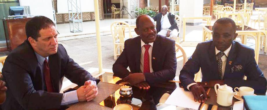 Ambassador of Israel to Uganda, H.E Yahel Villan (L) and the Deputy Vice Chancellor (Finance and Administration), Prof. Barnabas Nawangwe(Middle) during the meeting.